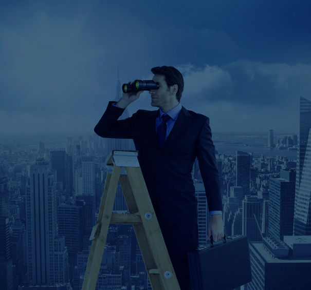 42522534 - businessman looking on a ladder against sunny city view